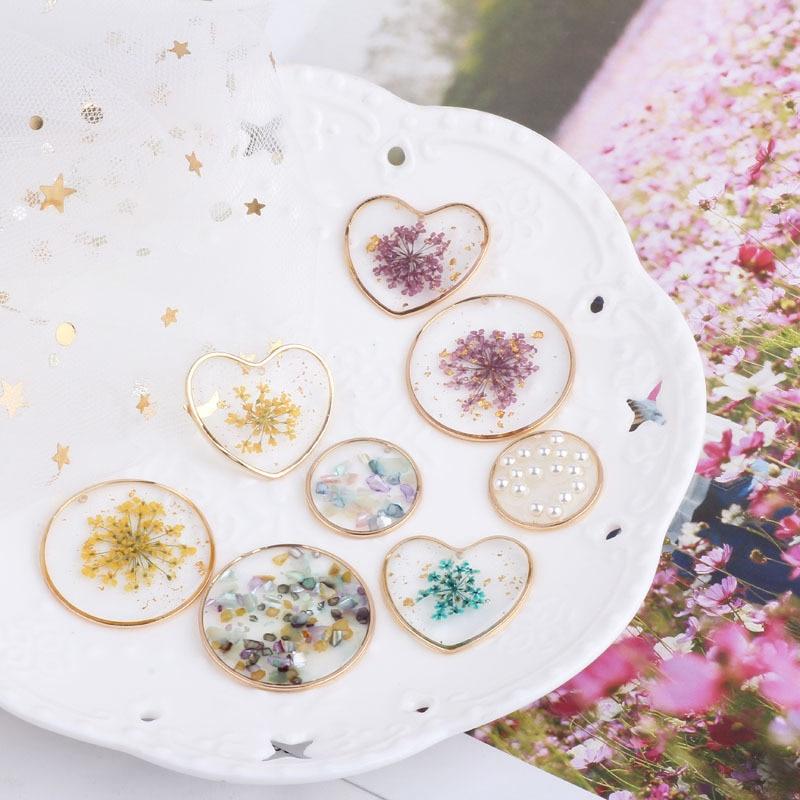 PURPLEGRAPE DIY Earrings Pendant Material Jewelry Accessories Epoxy Transparent Eternal Flower Pearl Round Love 4pcs