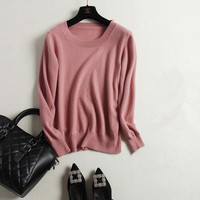 High Grade Pure Cashmere Thick Knit Women Autumn Winter Casual Sweater Pullover O Neck Rubber Pink