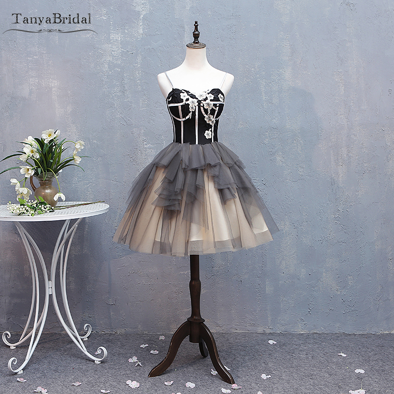 Black and Champagne Short   Cocktail     Dresses   Embroidery Homecoming   Dresses   Lace Up Vestido De Festa DHC004