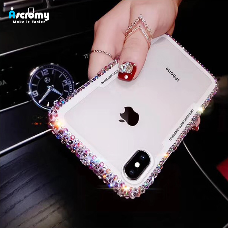 Ascromy For iPhone 7 Case Glitter Rhinestone Silicone Bumper Tempered Glass Back Cover For iPhone X 8 Plus 6 6S Capa Accessories (1)