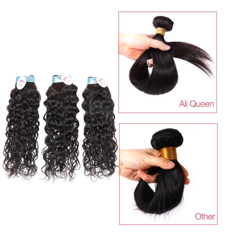 Ali reine cheveux en gros 10 pièces Lot péruvien vague d'eau cheveux humains armure faisceaux vierge Extensions de cheveux couleur naturelle - 2