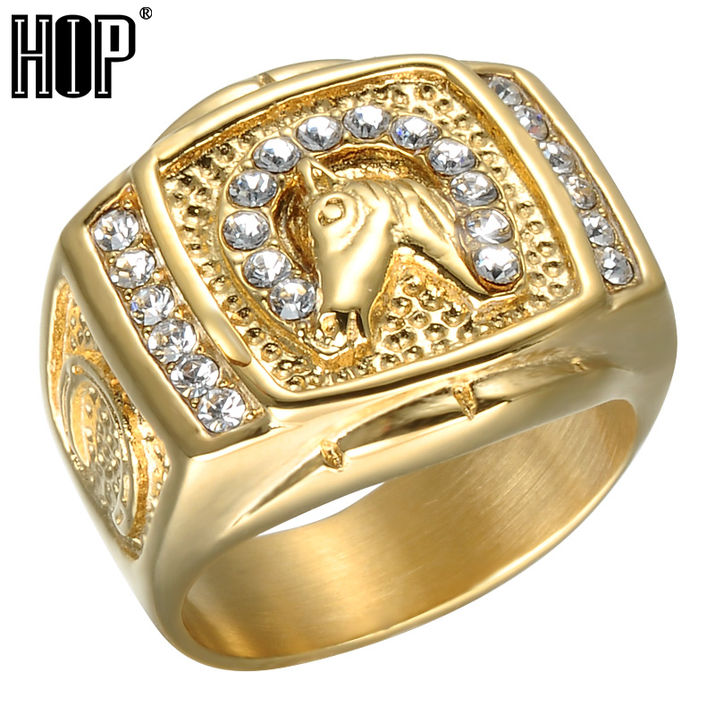 HIP Hop Micro Pave Rhinestone Iced Out Bling Horse Ring IP Gold Filled Titanium Stainless Steel Rings for Men and Women Jewelry punk style titanium steel hollow out ring for men