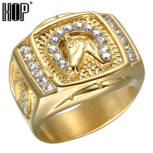 HIP Hop Micro Pave Rhinestone Iced Out Bling แหวนม้า IP Gold Filled แหวนไท(China)