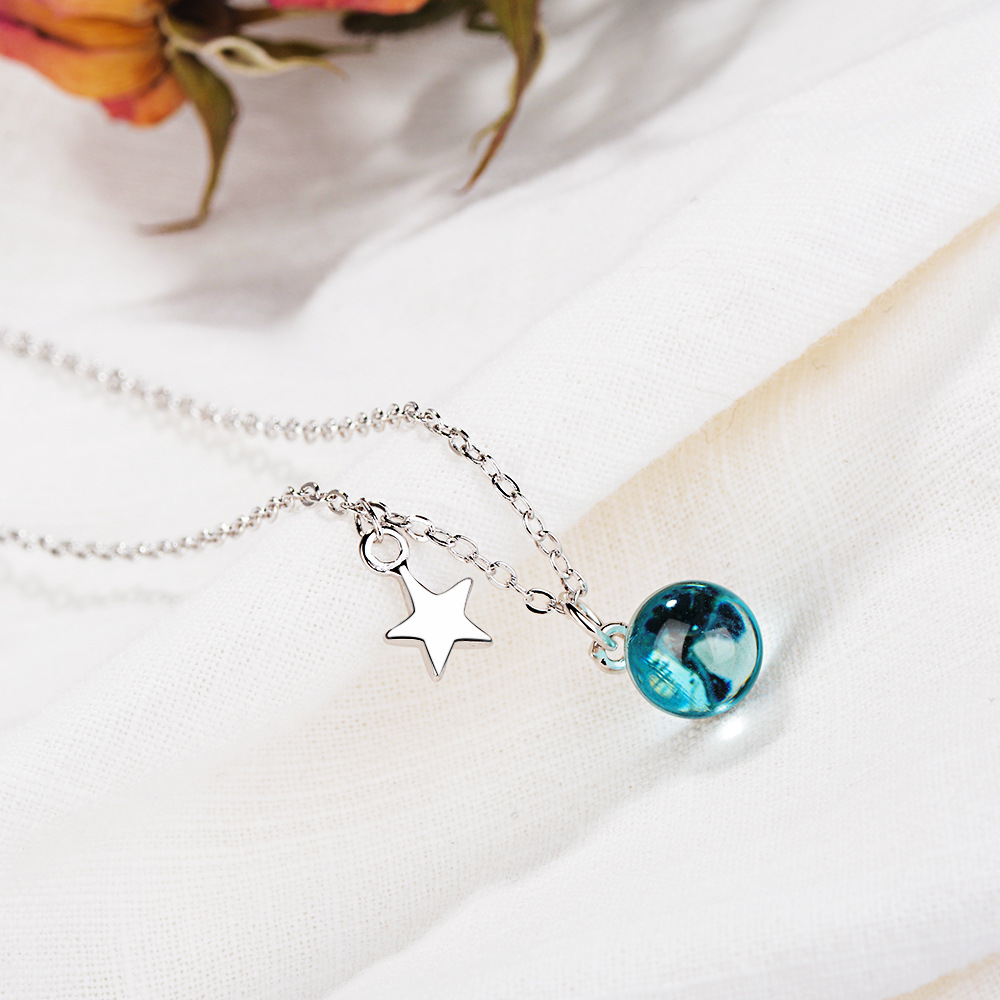 Charming Necklaces Pendants Silver Sterling 925 Jewelry for Women Girl Five Star Blue Crystal Choker Chain Necklace Gifts