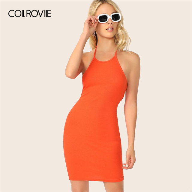 f655c617247 COLROVIE Neon Orange Rib-Knit Backless Halter Dress Women 2019 Sexy Summer  Party Female Glamorous Sleeveless Slim Short Dresses