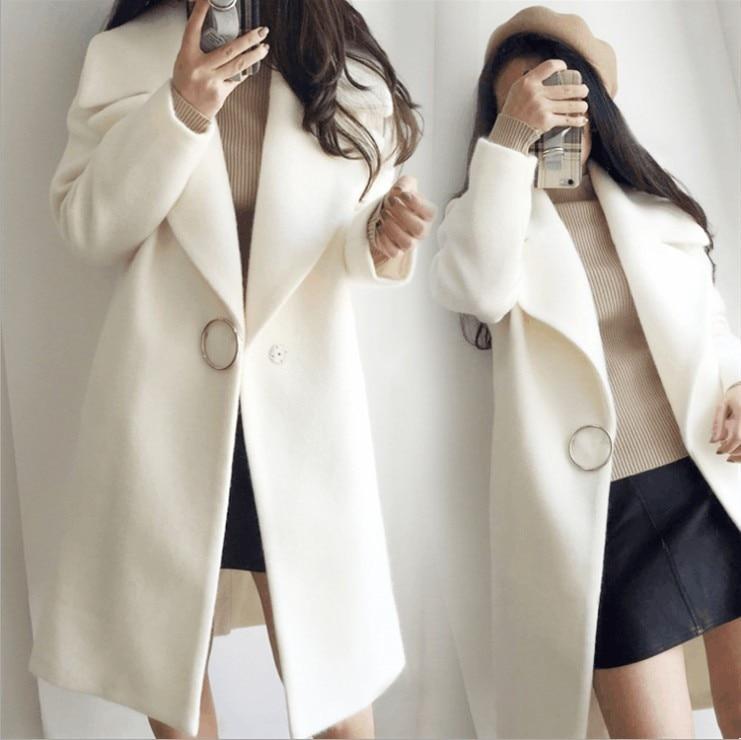 Kobiety ciepłe bawełniane płaszcz zimowy grube dzianiny szal przylądek w Wełna i mieszanki od Odzież damska na  Grupa 1