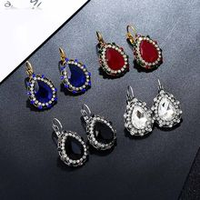 Bing Tu Women Vintage Earrings Indian Jewelry Blue Red Black Crystal Rhinestone Drop Earings Bridal Ear Jewellery orecchino(China)