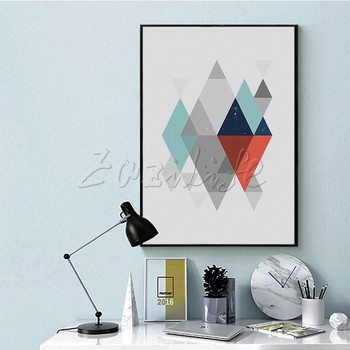 Poster and print Rhombus,Nordic modern abstract watercolor  ,wall pictures for living room home decor ,cuadros art wall
