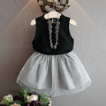 Preax Kids 2016 new girls suit princess dress + T-shirt 2 PC sets, striped tutu skirt lace hollow out shirt Summer clothing