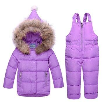 Conjunto de ropa de invierno 2 piezas abrigo abajo + monos niños trajes de esquí abrigo a prueba de viento niñas trajes de nieve chaquetas + bufanda pantalones 1-3T bebé