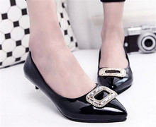 Plus Size 30-43 Fashion Sexy High Heels Pointed Toe Sweet  Rhinestone Thin Low Heels Woman Nude Shoes Women's Office Dress Shoes