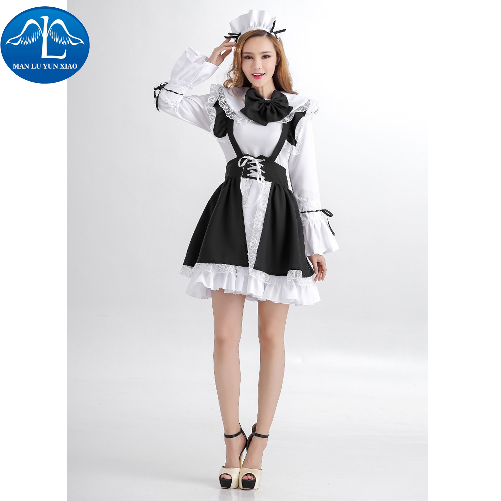 MANLUYUNXIAO New Cute Servant Women Cosplay Party Halloween Black Lolita Fancy Dress Adult Women Maid Servant Costume