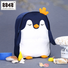 8848 Women Backpack Schoolbag Canvas Cute Penguin Embroidery Oxford Lovely Notebook For Girls Boys 201-061-003