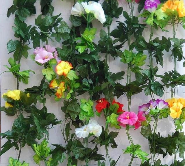Artificial fabric morning glory garland vine faux silk flowers artificial fabric morning glory garland vine faux silk flowers greenery guirlande ivy house store mightylinksfo