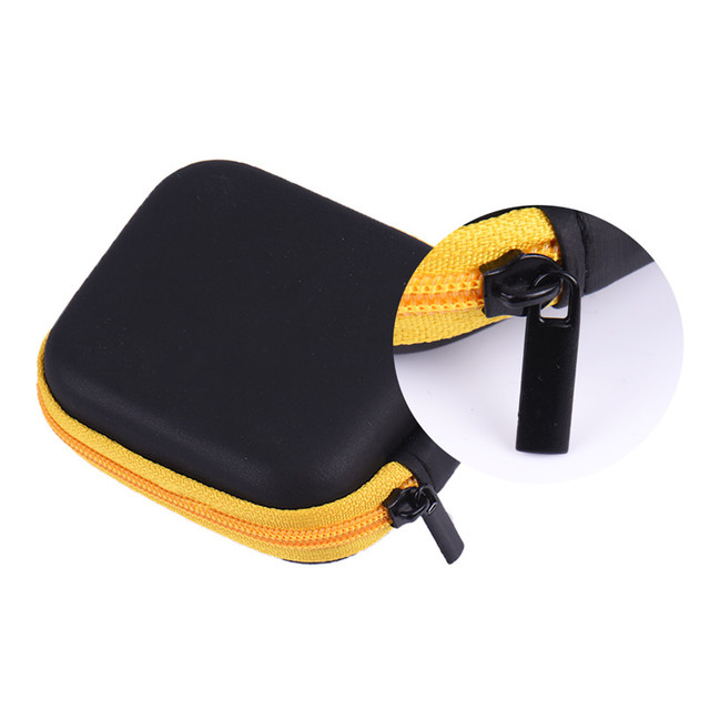 Leather Case/Protective Earphone Bag/USB Cable Organizer/Mini Earbuds Pouch Boxs Portable Hard Headphone Case with Zipper/PU