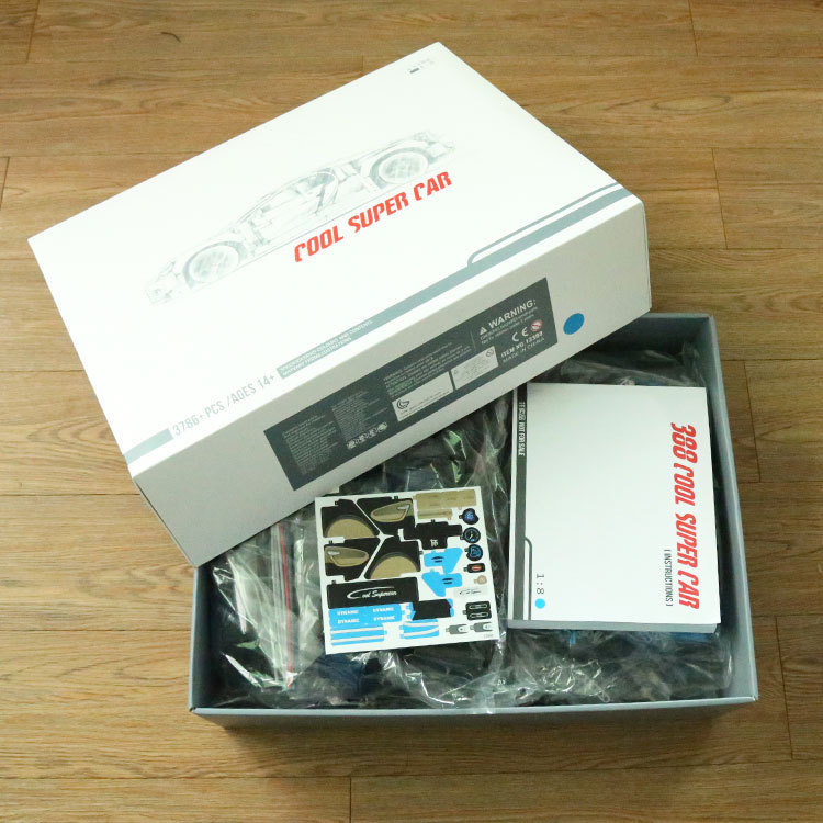 DECOOL 3388 20097 3786PCS Technic Series Blue White Car Model Building Kits Blocks Toys Bricks Compatible