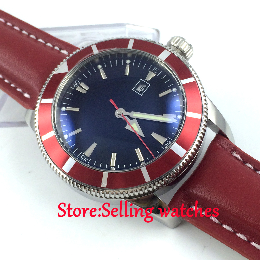 46mm Bliger black dial red strap date luminous marks sub automatic mens watch цена и фото