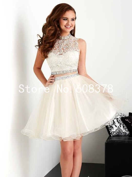 Cute 8th Grade Graduation Dresses 2015 Summer High Neck Two Piece ...