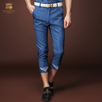 Free Shipping fashion casual Men's male New summer Men's trousers striped pants seven new stripe thin slim pants 15858 on sale