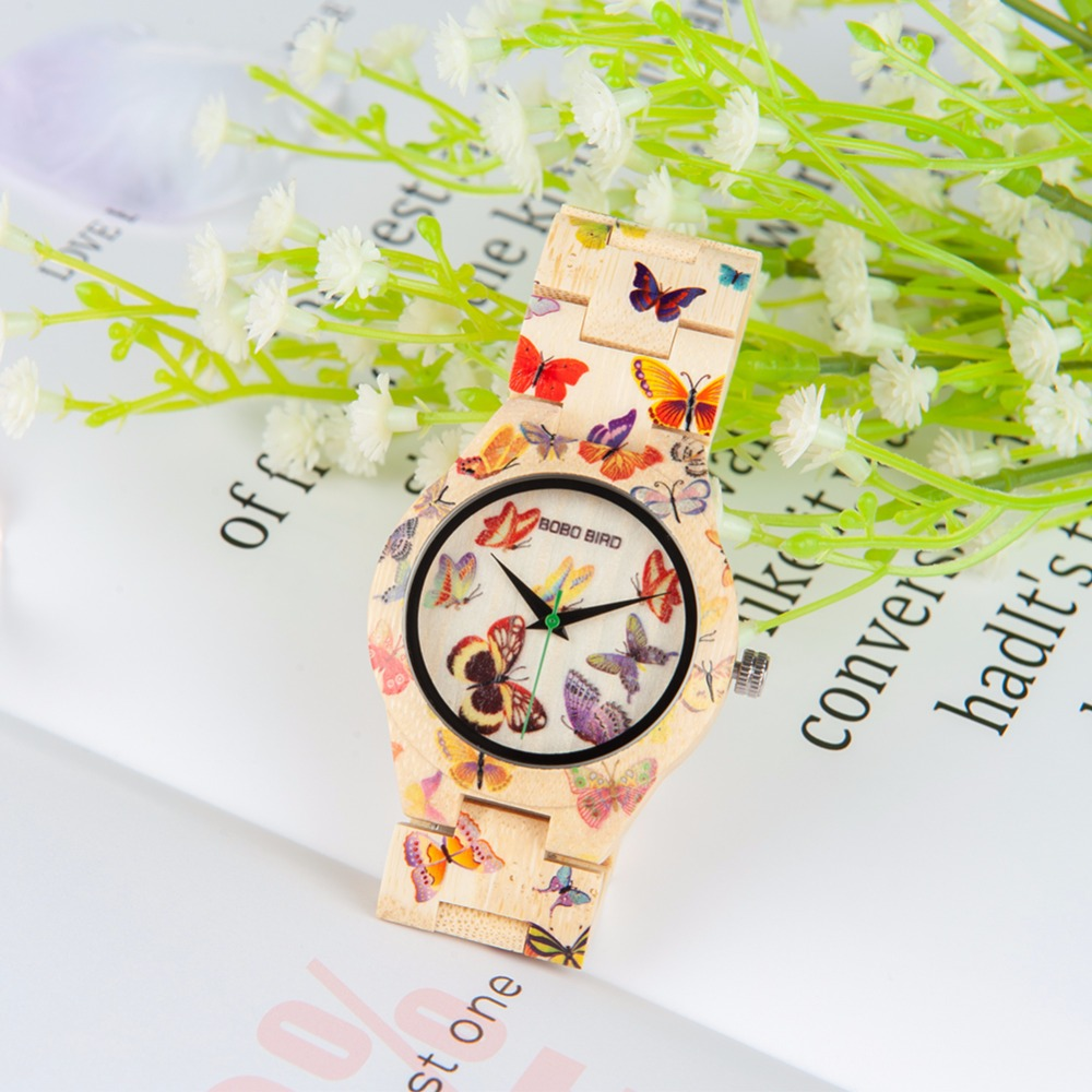 цена BOBO BIRD Bamboo Women Watches Quartz Lady horloges vrouwen Butterfly Watch Ladies Clock Custom Logo With Wood Case