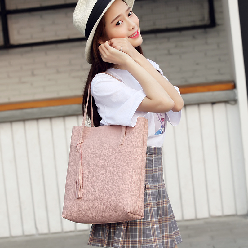 Korean-Style Fashion Shoulder Bag Direct Handbags Embossed Leather Charge Tassel Tote Cross-Border