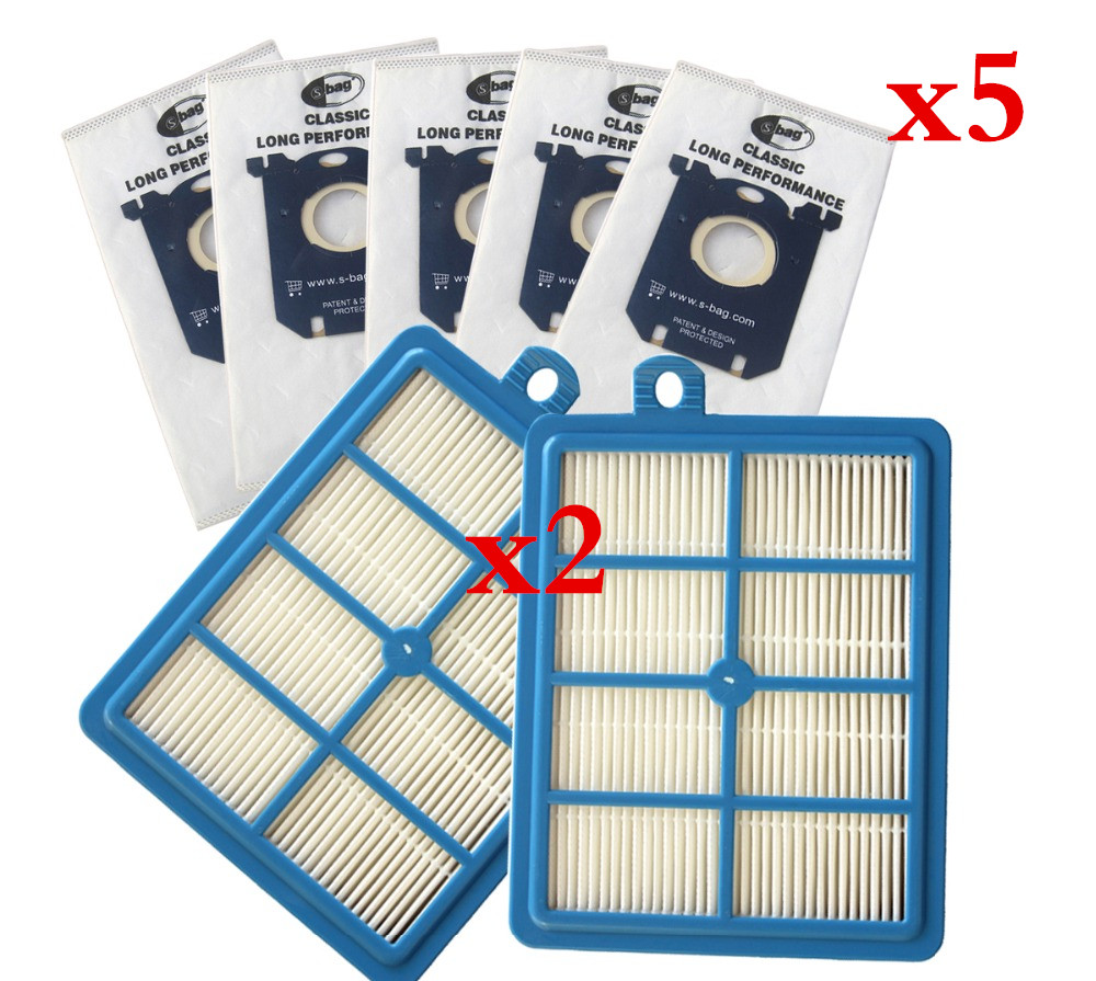 2 PCS Hepa H13 Filter H12 Wiener Filter, Hepa Filters For Philips FC9150 FC9199 FC9071 Electrolux Parts  +5pcs Dust Bags FC8202
