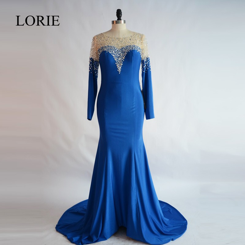 LORIE Royal Blue Long Sleeve   Prom     Dresses   2017 Abendkleider Lang Elegant Open Back Long Evening   Dress   Spandex Formal Party Gowns