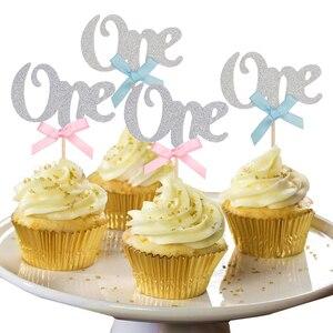Image 5 - 1st ハッピーバースデー紙ケーキカップケーキトッパー私の最初のパーティー装飾キッズベビー少年少女私は 1 1 年用品ピンクブルー