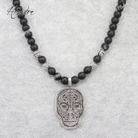 Thomas Style Skull Mask Pendant Black Obsidian Matted And Cross Karma Beads Ribbon Chain Necklace TS