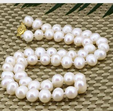 Women jewelry choker chocker maxi collier natural 8 9mm white natural freshwater nearround pearl beads choker necklace in Chain Necklaces from Jewelry Accessories