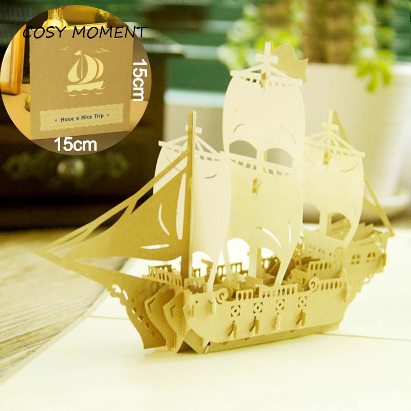 COSY MOMENT Sailing 3D laser cut pop up holiday happy birthday greeting cards gifts post cards best wishes business gift HK012