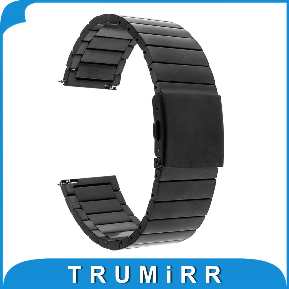 Prix pour 22mm Libération Rapide Montre Bande pour LG G Watch W100 W110 urbain W150 Asus Zenwatch 1 2 Pebble Temps Bracelet En Acier Inoxydable Bracelet