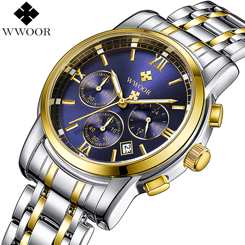 2018 WWOOR Men Chronograph Business Quartz Watch Mens Watches Top Brand Luxury Gold Stainless Steel Sport Wrist Watch Male Clock