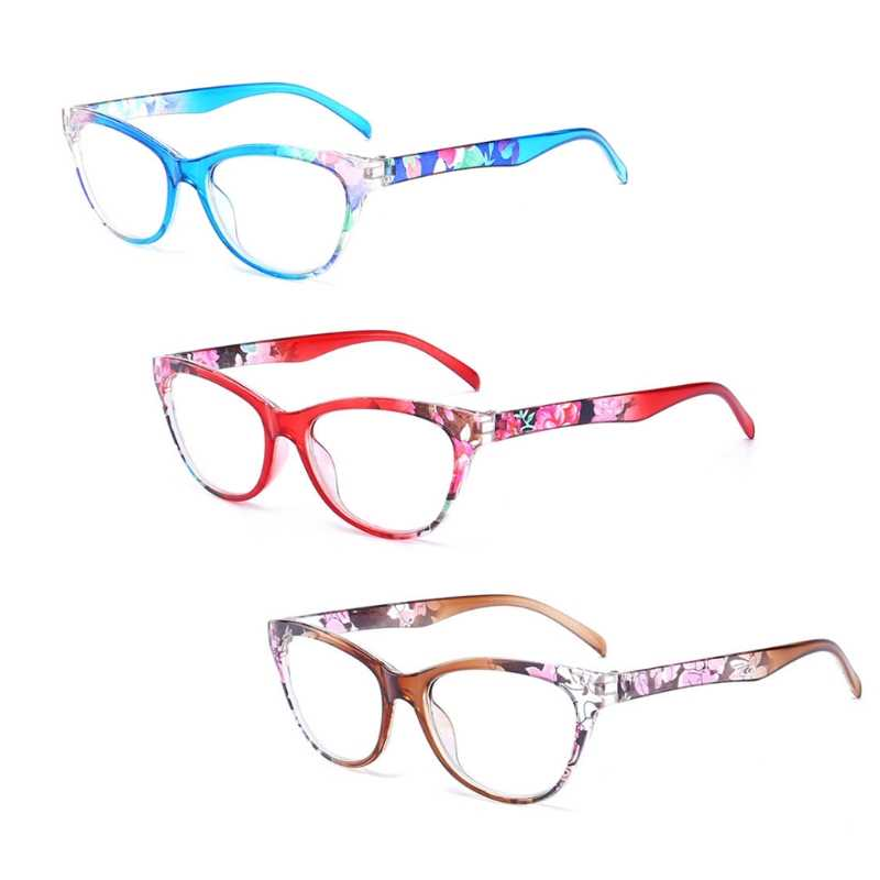 998b5dea3eb Women Cat Eye Reading Glasses Vintage Reader Fashion Flower Print +1.0-+4.0