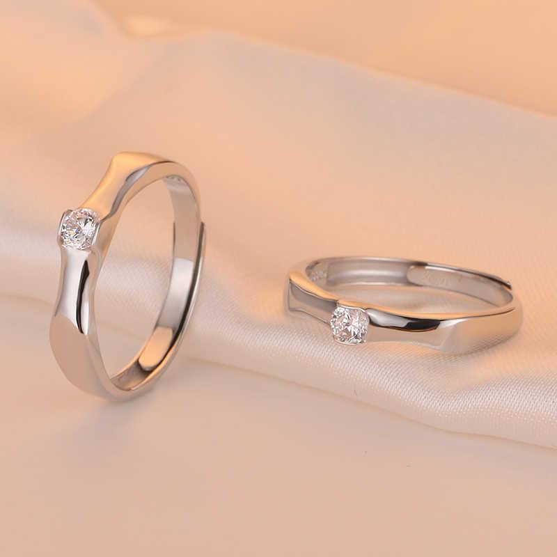 Simple 925 แหวนเงินผู้หญิงไม้ไผ่เปิดแหวนปรับขนาดได้งานแต่งงานแฟชั่นเครื่องประดับ