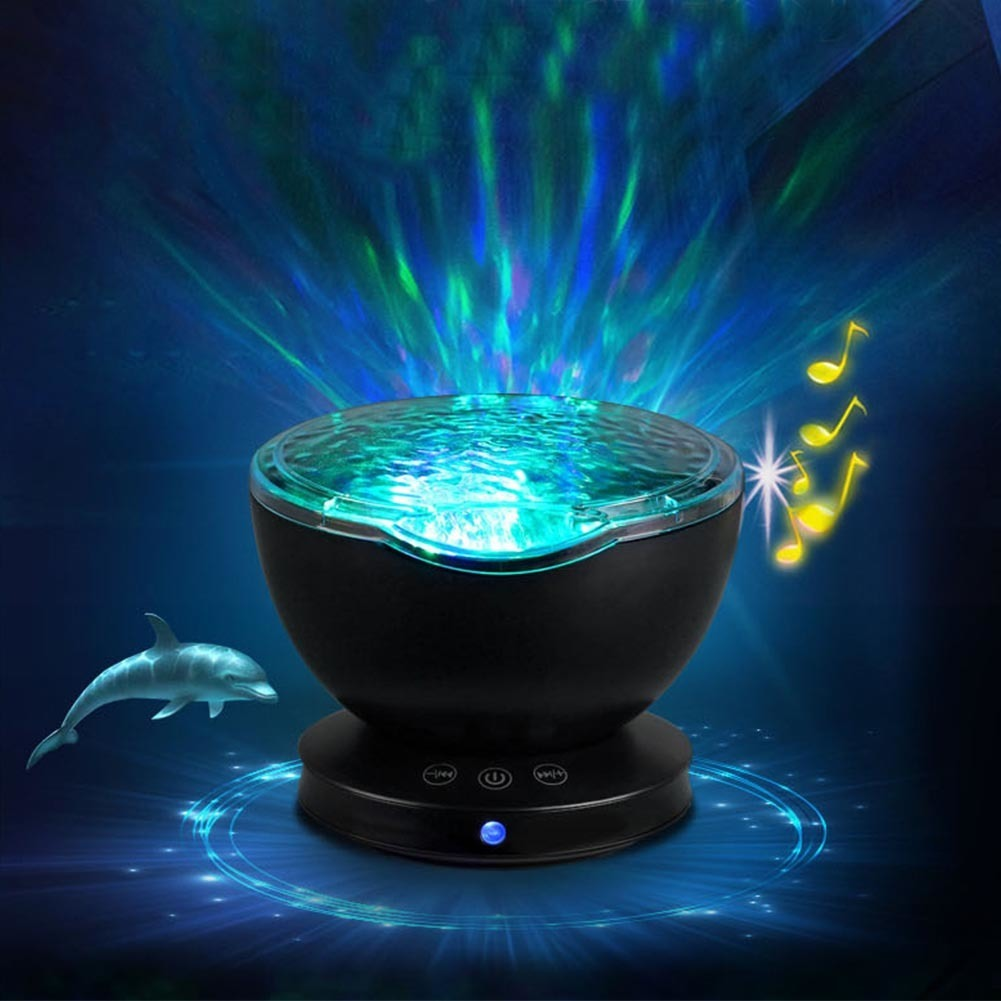 Creative LED Night Light Starry Sky Ocean Wave Projector With Mini Music Novelty Baby Lamp Night Lamp for Kids iminovo night light with music starry sky led mini star projector lamps battery powered for lovers children creative gift