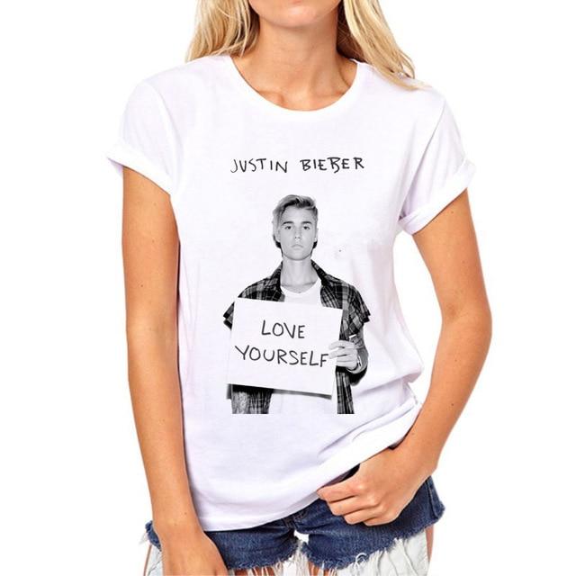 d403e4649b02e 2018 جاستن بيبر الصيف قميصا أبيض ومريحة ماركة الملابس تي شيرت جوستين  المتناثرة فتاة قميصا 74N