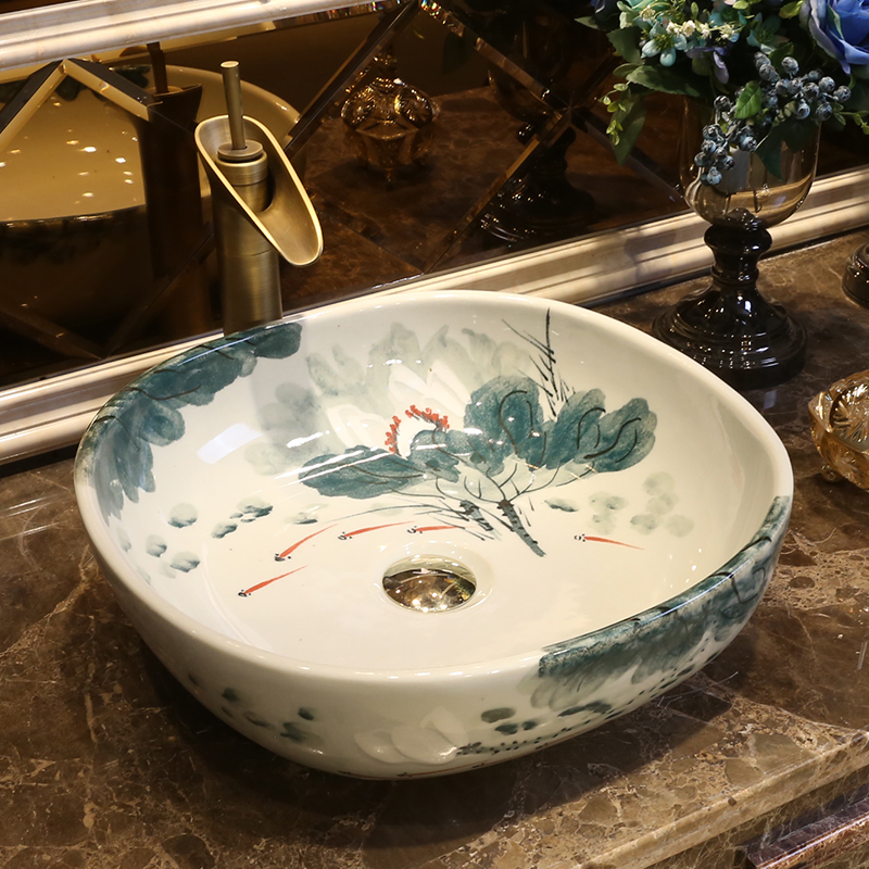 Artistic Bathroom Sink Countertop Hand Painted Wash Basins Lotus Square  Hand Made Decorative Sinks In Bathroom Sinks From Home Improvement On  Aliexpress.com ...
