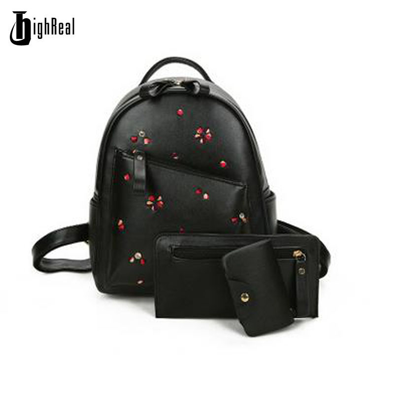 New Fashion Rivets Embroidered Flowers Shoulder Bag Leisure Travel Student Bag Three Sets Multifunction Women Leather