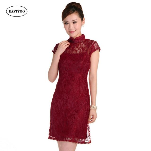 abc32e18b8a Sexy Lace Cheongsam Women Short Sleeve Mandarin Collar Chinese Wedding Dresses  Qipao Cheongsam Short Plus Size Bridesmaid Dress