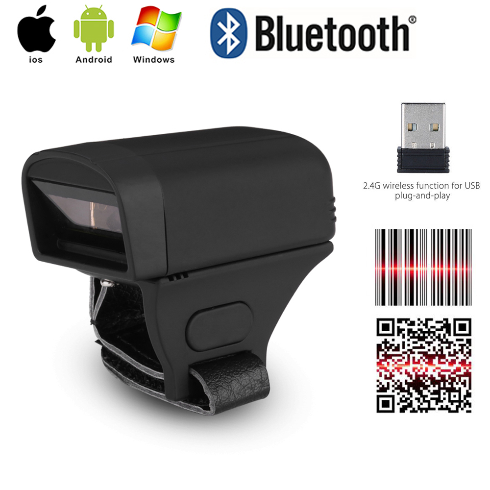 Wearable Portable Bluetooth Finger Ring 2D Barcode Reader For IOS Android PDF417 <font><b>DM</b></font> QR Code 2D Scanner for IOS Android Windows image
