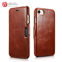 Retro Luxury Genuine Leather Series Side Open Genuine Leather Flip Case For IPhone 7 Metal Magnet