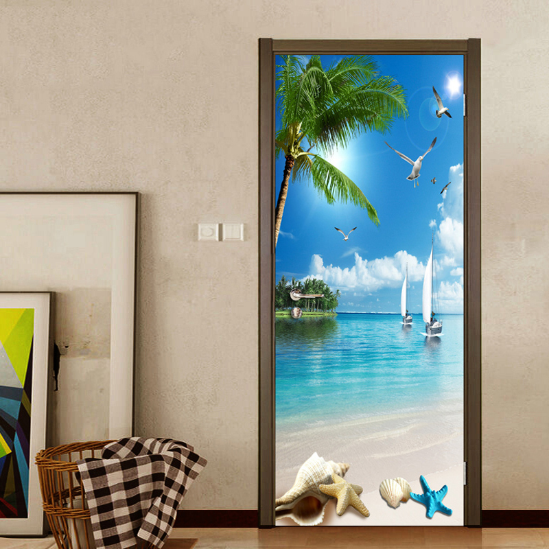 цена на Custom Photo Wall Paper 3D Beach Sea View Wall Painting Living Room Bedroom Bathroom Door Sticker PVC Waterproof Mural Wallpaper