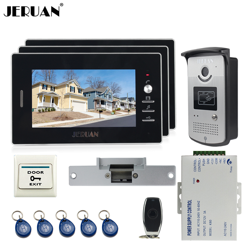 JERUAN Wired 7`` TFT video door phone Entry intercom system kit 700TVL RFID IR Night Vision Camera 3 black monitor In stock