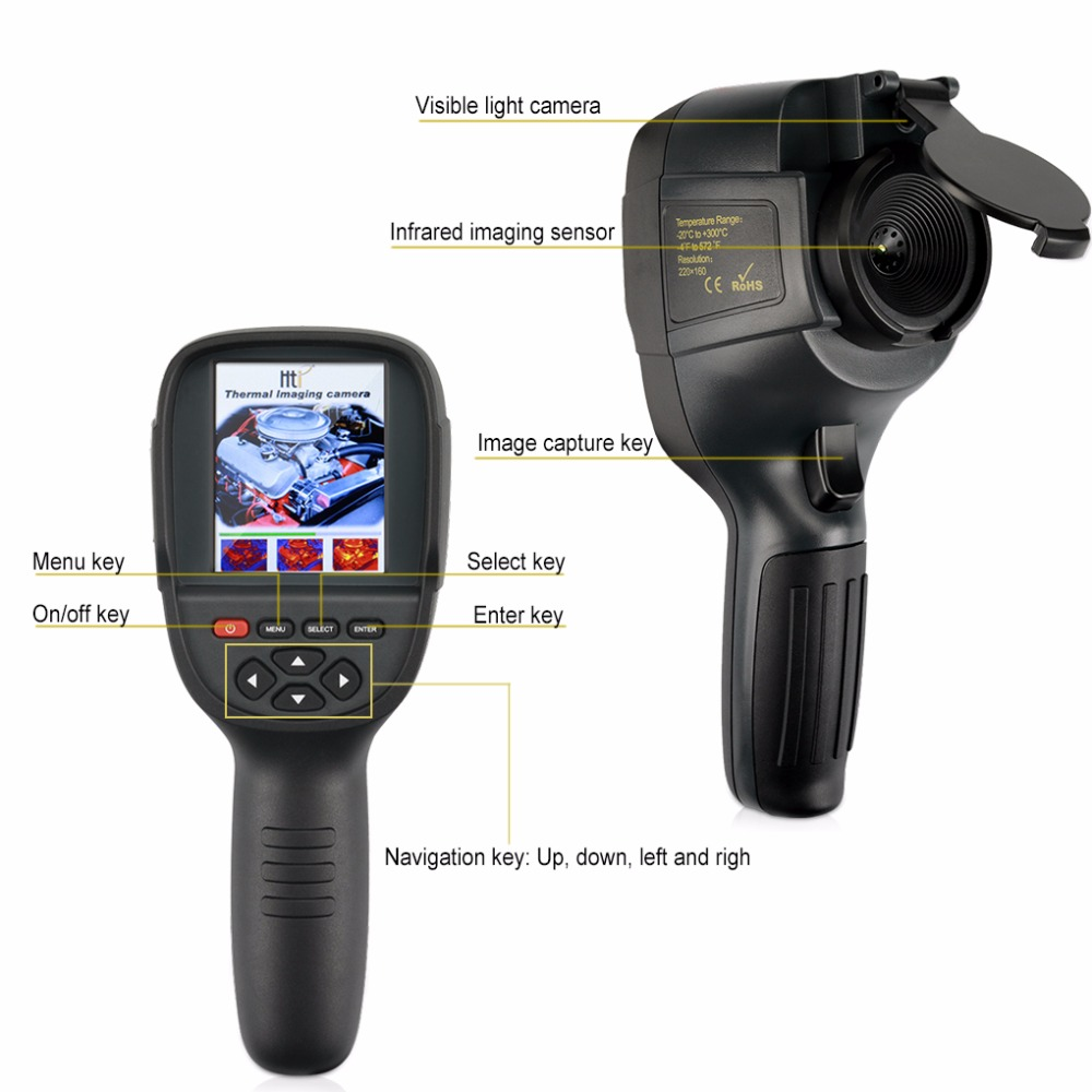 2019 New Realeased Infrared Thermometer Handheld Thermal Imaging Camera HT-18 Portable IR Thermal Imager Camera HT18 220160 (2)