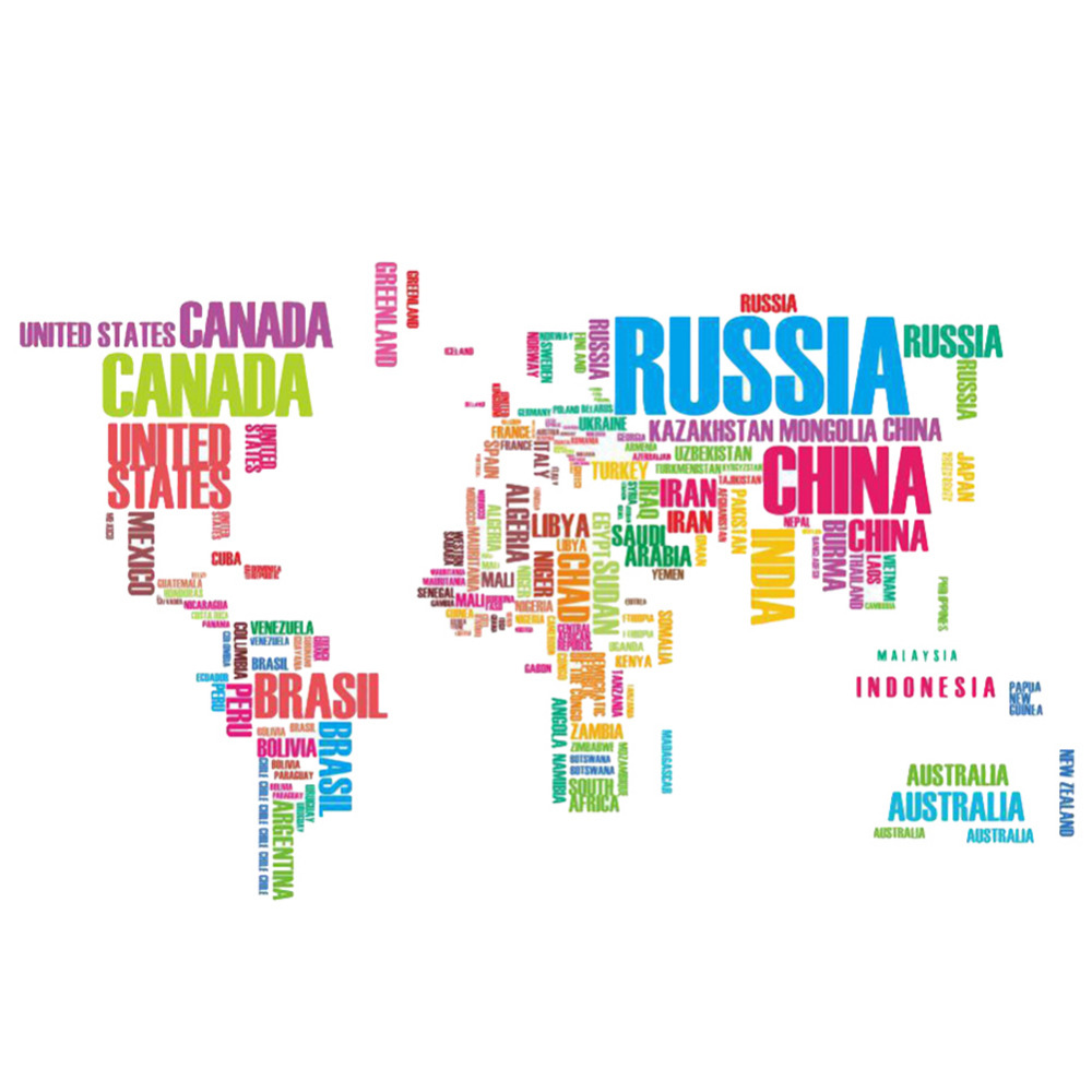 Aliexpress.com : Buy Colorful Letters World Map Wall
