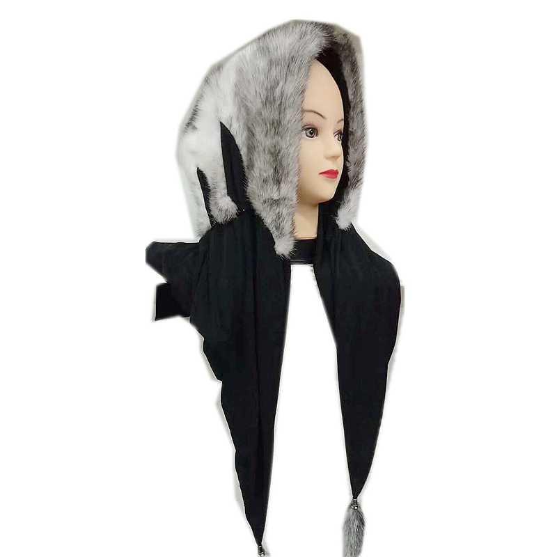 Real mink fur headscarf women print tassels genuine mink hat hijab muffler shawls Muslim cross mink full cover turban cap warp
