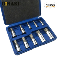 10pc 12 Point Triple Square Spline Bit Socket Set with tool case Tamper Proof Lug Nuts XZN drive bits sockets for repairs car
