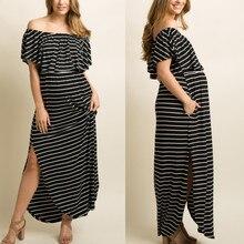 SAGACE,, платье для беременных, модное, для беременных, с открытыми плечами, для беременных, в полоску, летнее, с оборками, длинное платье, плюс размер, 9