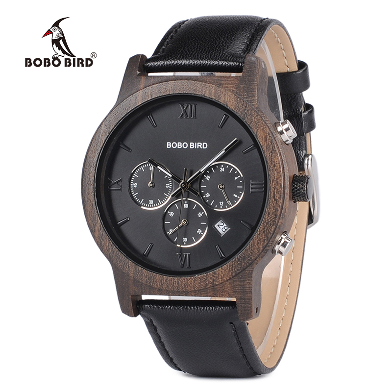 BOBO BIRD L-P28 Men Miyota Quartz Movement Chronograph Wristwatch Men Stop Watch with Complete Calendar Saat in Gift Box